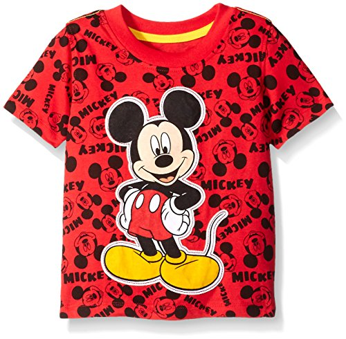 Disney Little Boys' Toddler Mickey Mouse All-Over Print Short Sleeve T-Shirt, Red, 3T ()