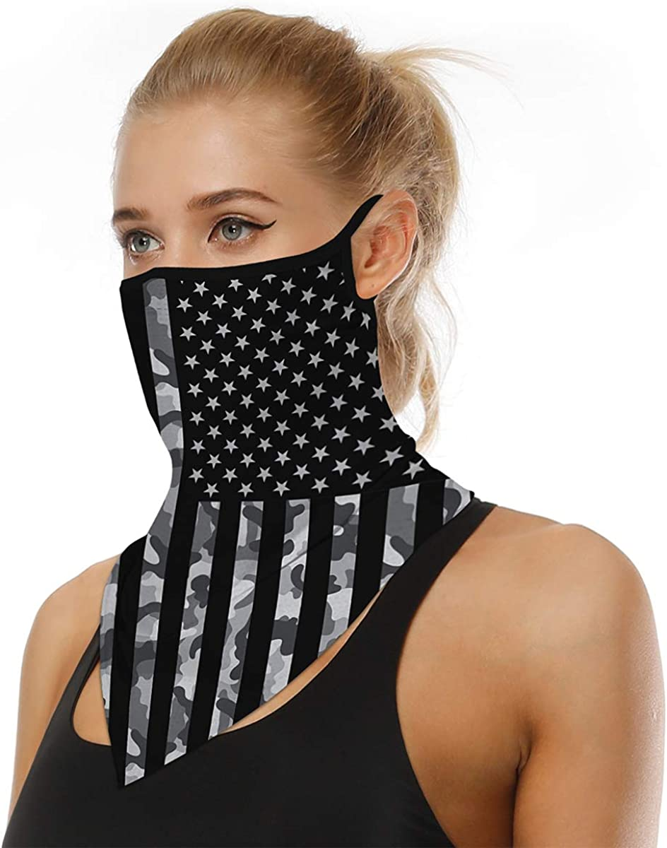 Men Women Face Scarf Bandana Ear Loops Face Balaclava Neck Gaiters for Dust Mask