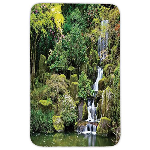 Rectangular Area Rug Mat Rug,Country Home Decor,Pond in Asian Style Garden Arboretum Trees Bush Foliage Rocks Waterscape Picture,Green White,Home Decor Mat with Non Slip Backing by iPrint