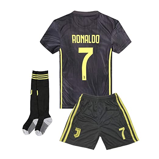 timeless design d9f38 f0f48 Juventus #7 Ronaldo 2018-2019 Season Away Kids or Youth Soccer Jerseys &  Shorts & Socks Color Black