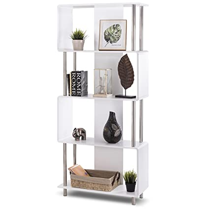 Giantex 4 Shelf Bookcase Style Storage Display Unit Modern Industrial Bookshelf Organizer White