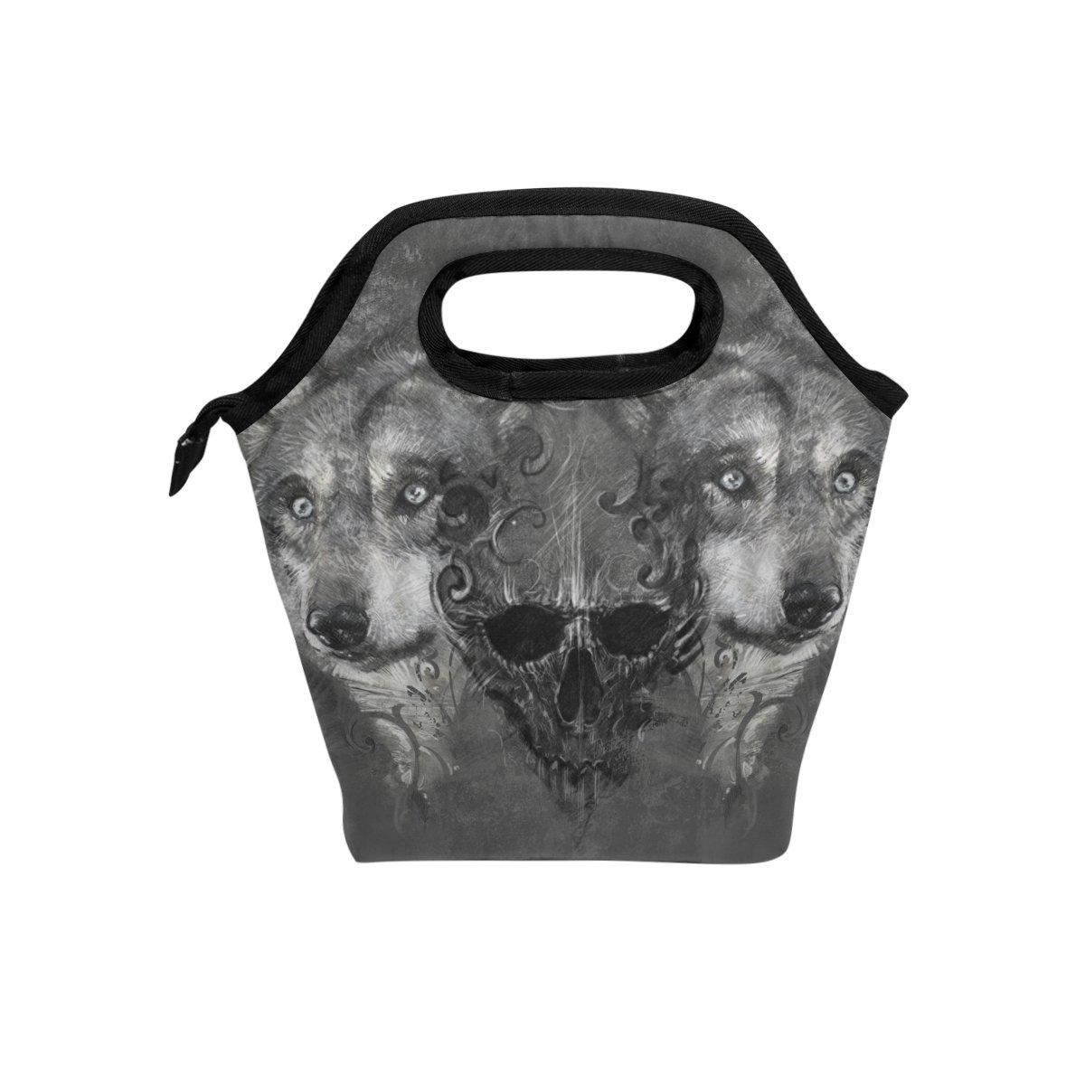 JSTEL - Bolsa de almuerzo con diseño de calavera y lobo, bolsa para el almuerzo, contenedor de alimentos, para viajes, picnic, escuela, oficina