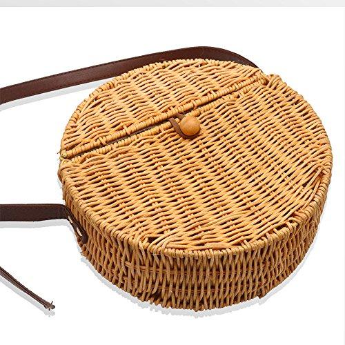 mare rattan tessuto mano fatta paglia rotonda di in Borsa rotonda quadrata borsa in Camphiking rattan a tracolla 6qFPtw
