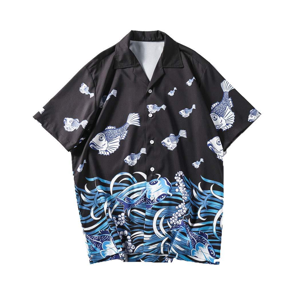 Danhjin Men Casual Tops Summer Loose Lapel Seaweed /& Fish Printed Short Sleeve Button Down Pocket Polo Blouse Shirts