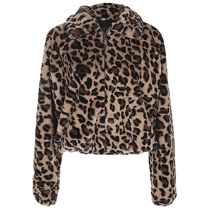 Mlide Womens Brown New Fashion Leopard Furry Warm Sweater ...