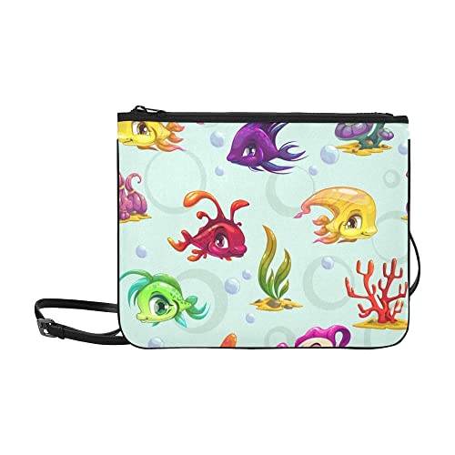 WYYWCY Peces de dibujos animados subacuáticos lindos Personalizado de alto grado de nylon delgado bolso de embrague bolso cruzado cuerpo bolsa de hombro: ...