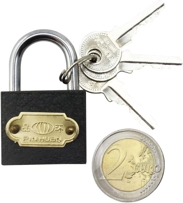 02 St/ück - 40 mm mit je 3 Schl/üsseln 40 mm com-four/® 2X Vorh/ängeschloss aus Stahl