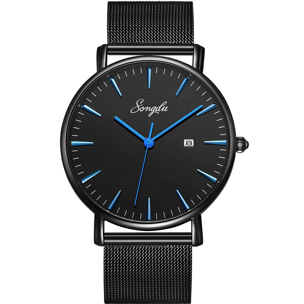SONGDU Men's Fashion Date Slim Analog Quartz Watches with Stainless Steel Mesh Band (Blue and Black)