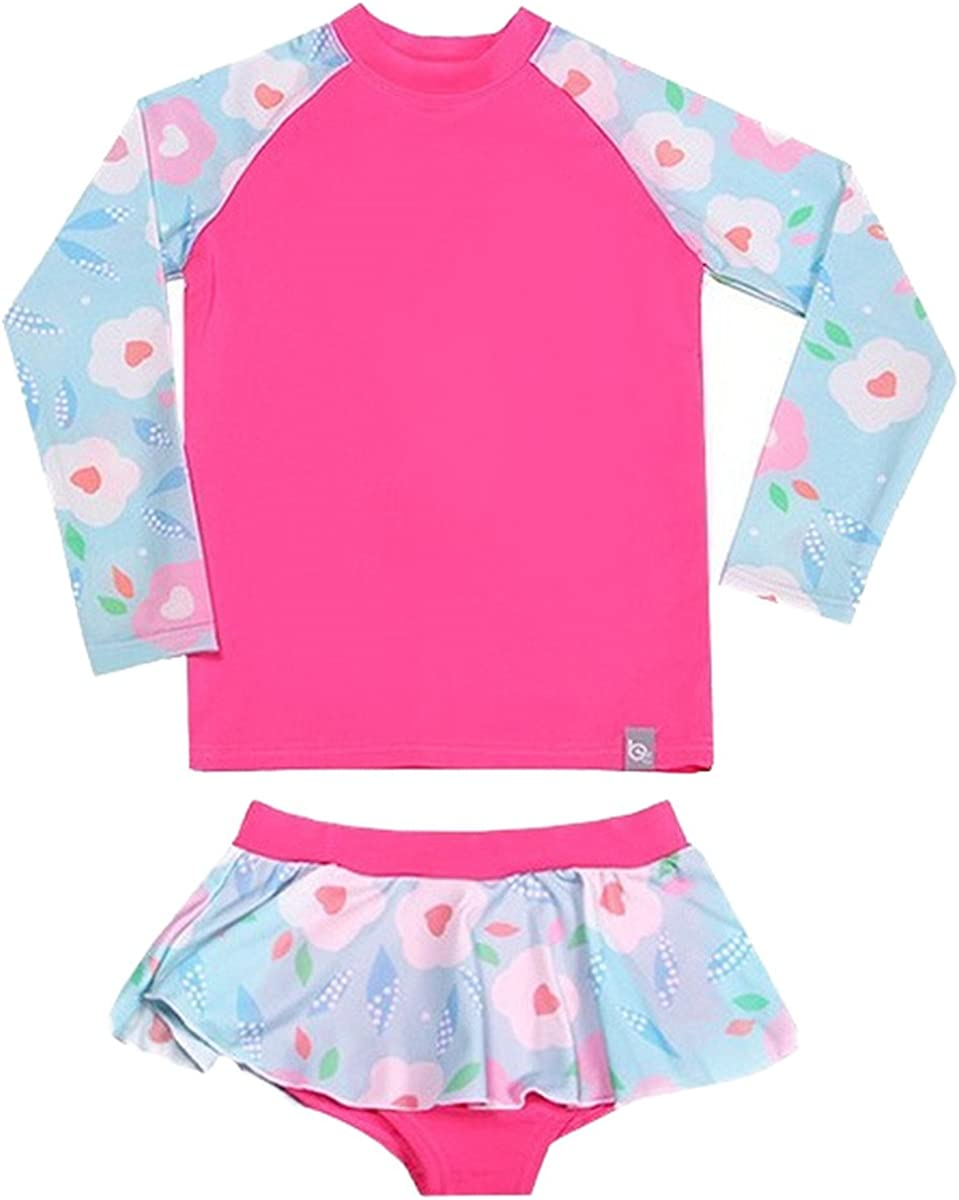 Baby Girls Two Piece Long Sleeve Rashguard Swimwear Childrens Swimsuit Surf Suit Sun Protection