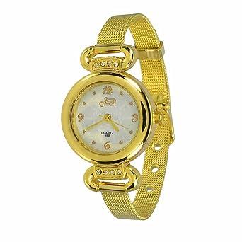 Reloj de Pulsera Agujas quarzo Acero Joya Reloj Mujer Leto Dorado Regalo: Amazon.es: Relojes