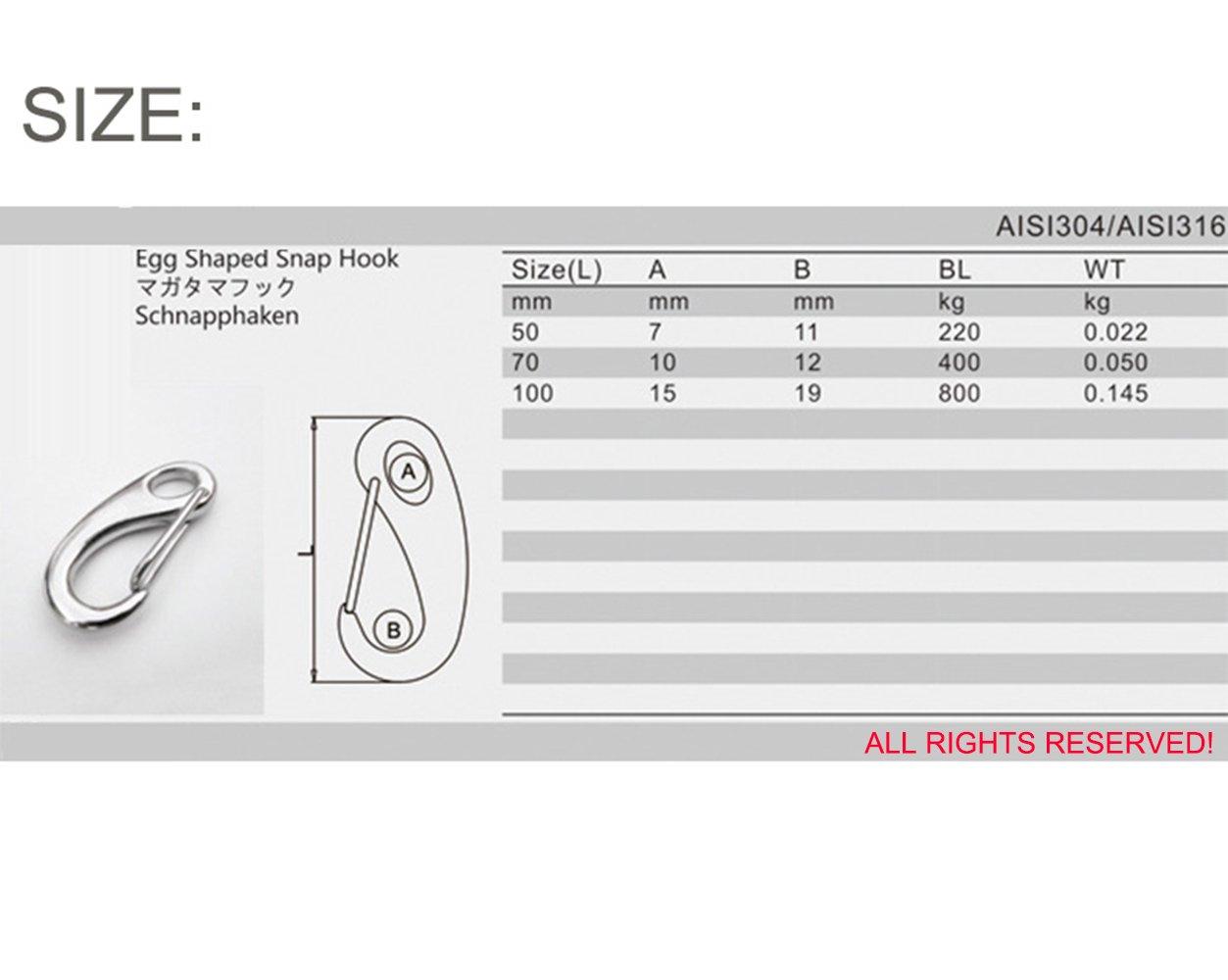 2.8 Inch Length 304 Stainless Steel Egg Shaped Snap Hook Carabiner 5-PACK