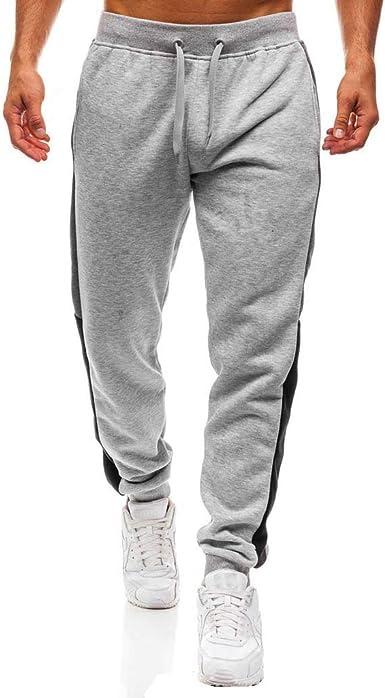 Pantalones Casual para Hombres Cinturón de Cintura elástico Pantalones Costura Pantalones de chándal Pantalones de algodón Largo Jogging: Amazon.es: Ropa y accesorios