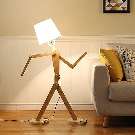 Nordic Madera lámpara de pie creativos humano moldeada pie romántica salón lámpara dormitorio lámpara de pie, Alta 110 cm E27 (No Incluidas)