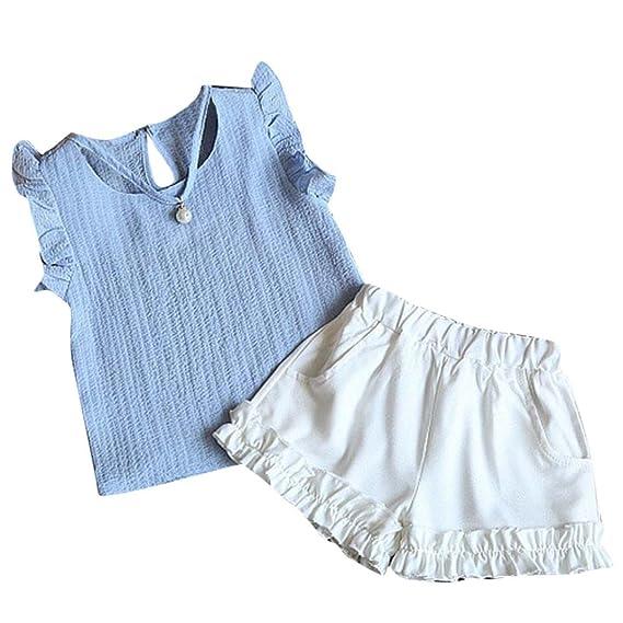 Conjuntos Para Bebé NiñAs DRESS Start® Blusa Camiseta Chaleco Liso Colgante De Perlas Con Volantes