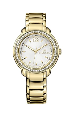 Tommy Hilfiger Womens 1781467 Callie Gold Tone White Dial Glitz Watch