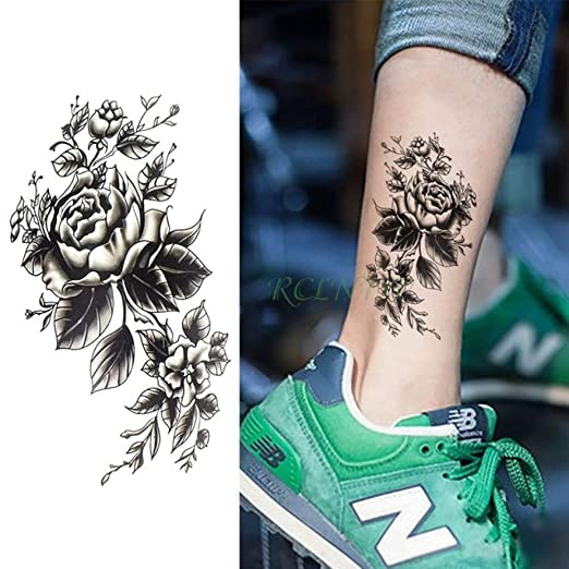 tzxdbh 3pcs-Waterproof Tattoo Sticker Rose Mermaid Deer Head Lion ...