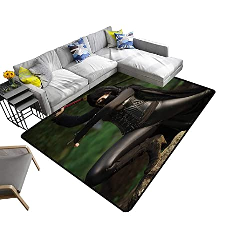 Amazon.com: alsohome Abstract Design Area Rug Female Ninja ...