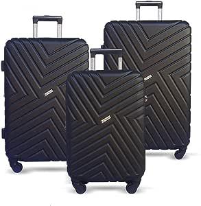 JETT BLACK Luggage Set 3 Piece Suitcase Expandable Lightweight Hard Case Spinner Wheel TSA Carry On Black