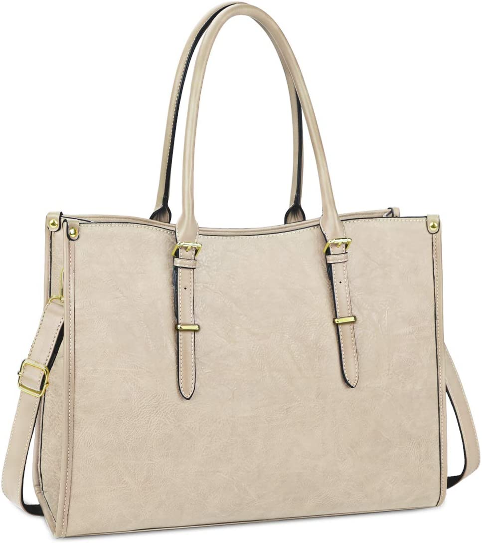 Laptop Bag for Women 15.6 Inch Waterproof Lightweight Leather Laptop Tote Bag Womens Professional Business Office Work Bag Briefcase Large Computer Bag Shoulder Handbag Beige