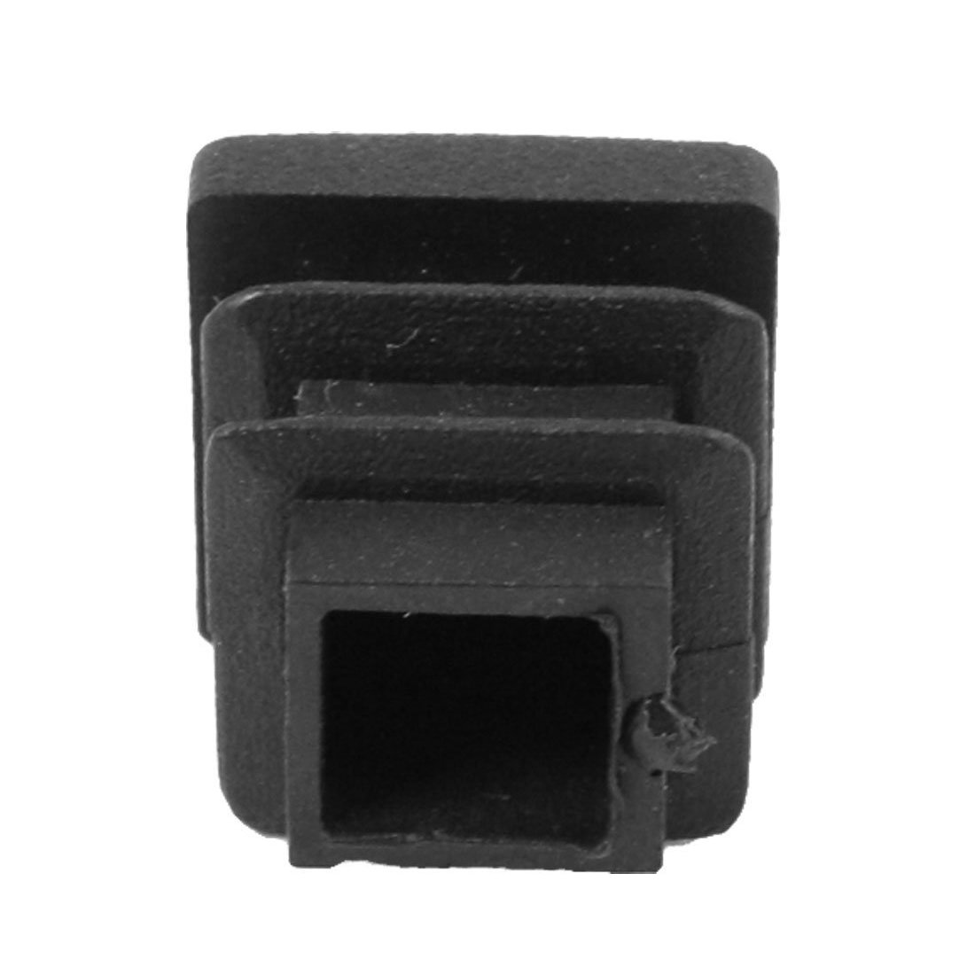 TOOGOO 12 Pc 16mm x 16mm Square Striated Plastic Table End Plugs Inserted Tube Black by TOOGOO (Image #2)
