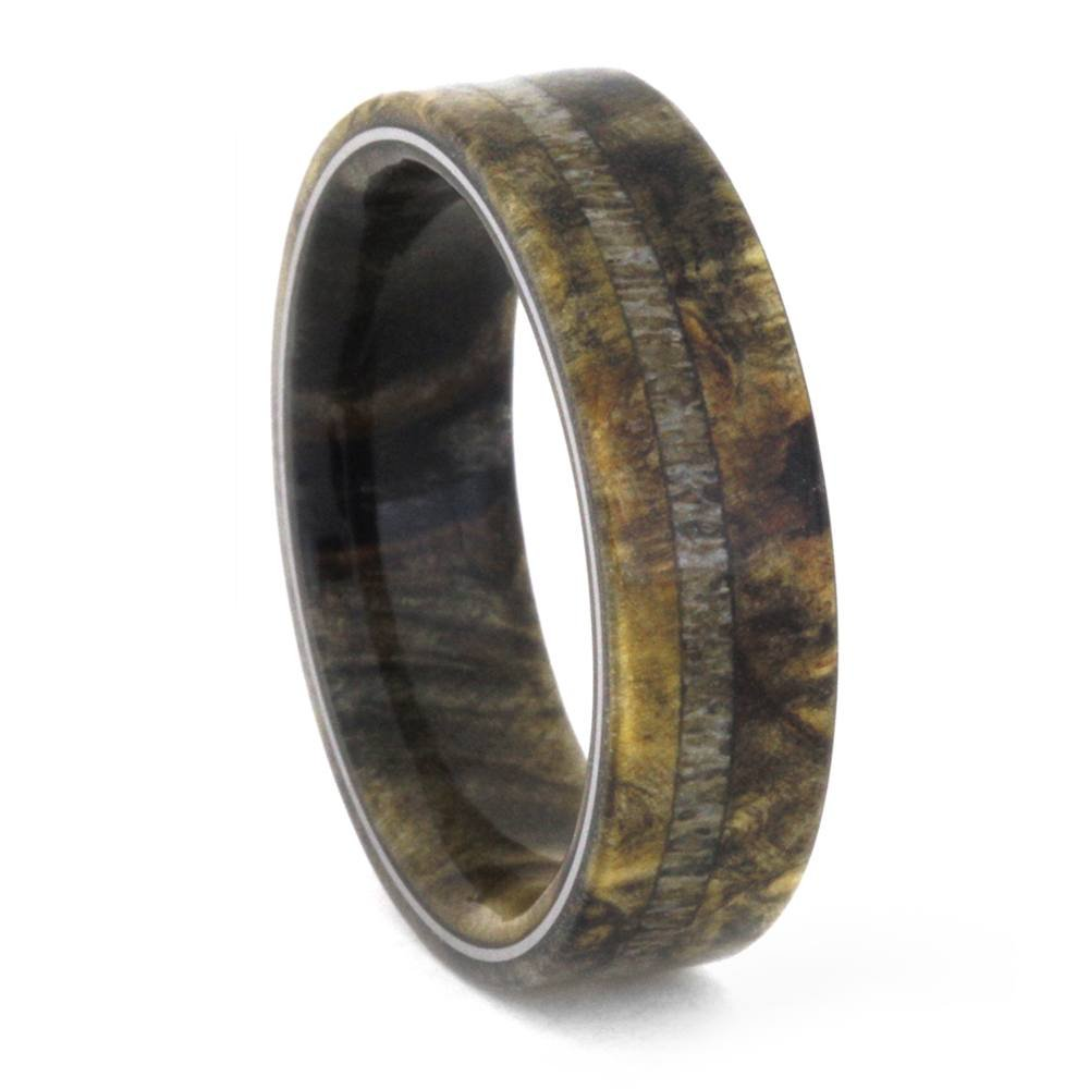 Deer Antler, Buckeye Burl Wood 6.5mm Comfort-Fit Titanium Band, Size 11.5 by The Men's Jewelry Store (Unisex Jewelry)