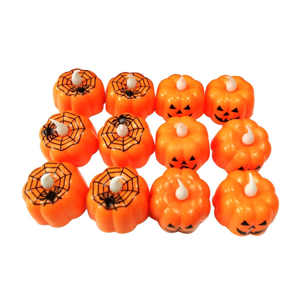 Halloween Decorations Candles Tea Lights, Battery Operated, Flickering Flameless (12PCS)