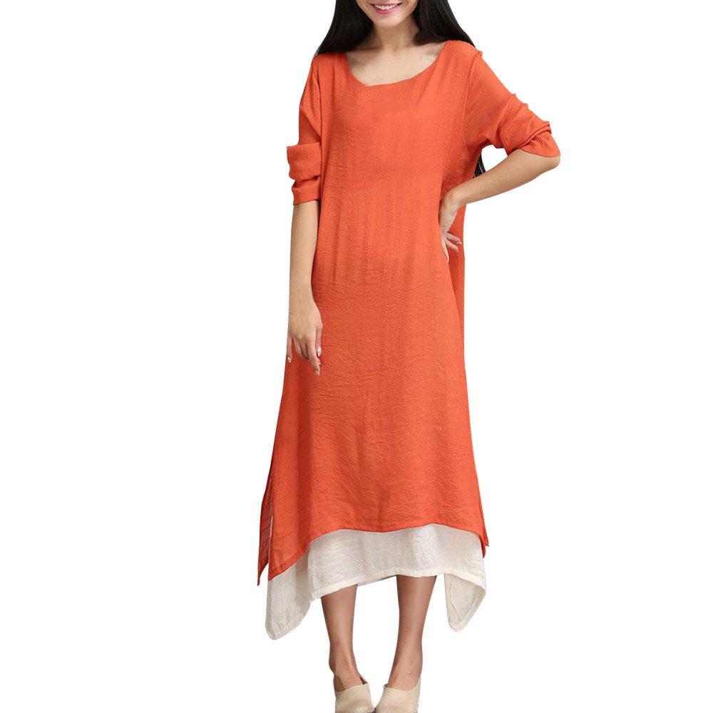 JESPER Women's Swing Cotton Linen Solid Soft Loose Long Sleeve Two Color Stitching Dress Orange