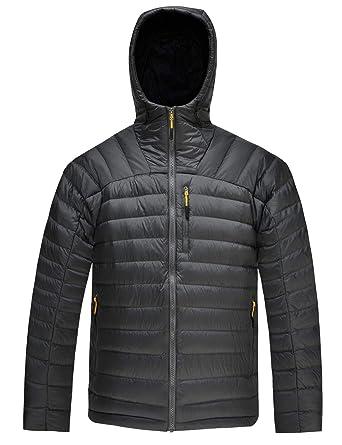 565eec0ddbc58 HARD LAND Men's Packable Down Jacket Hooded Lightweight Winter Puffer Coat  Outerwear Charcoal Grey Size XL
