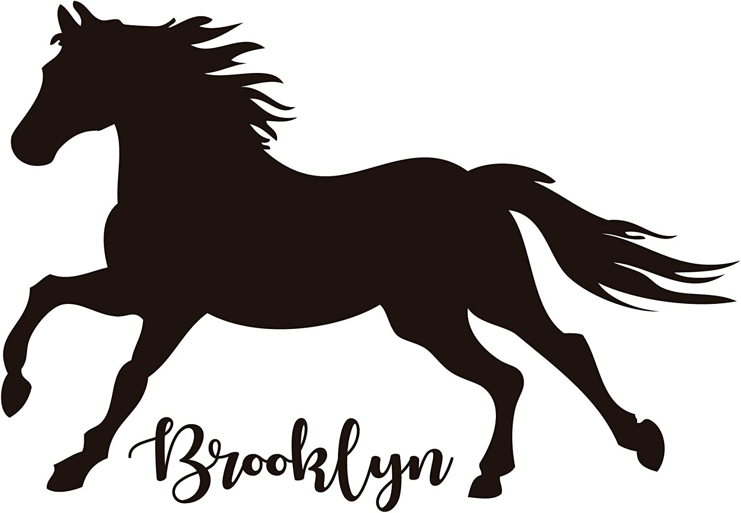 Room Wall Decor - Horse with Personalized Name Vinyl Decal Stickers for Home in Girls or Boys Bedroom, Playroom, Bathroom or Nursery - Custom Sizes and Colors Match The Theme of Any Living Space