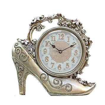 LIU RUOXI Reloj Retro De Estilo Europeo, Zapatos De Tacón Alto De Resina Vintage Reloj De Mesa Decorativo ...
