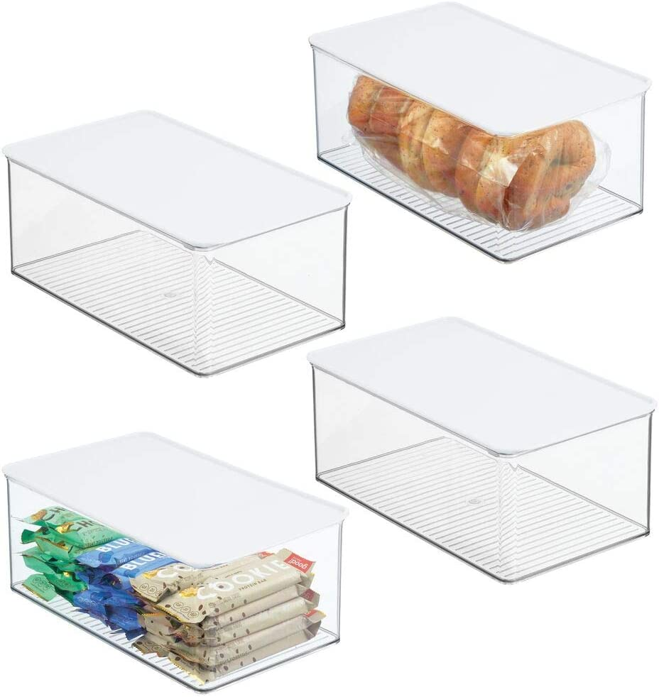 mDesign Plastic Stackable Kitchen Pantry Box for Cabinet, Refrigerator, Pantry, Counter, Food Storage Container, Attached Lid - Organizer for Coffee, Tea, Packets, Snack Bars, 4 Pack - Clear/White