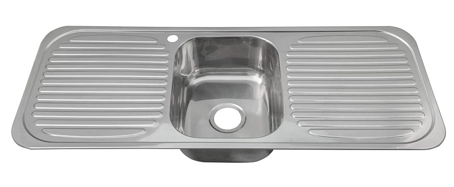 Inset Stainless Steel Single Bowl Kitchen Sink With 2 Drainers ...