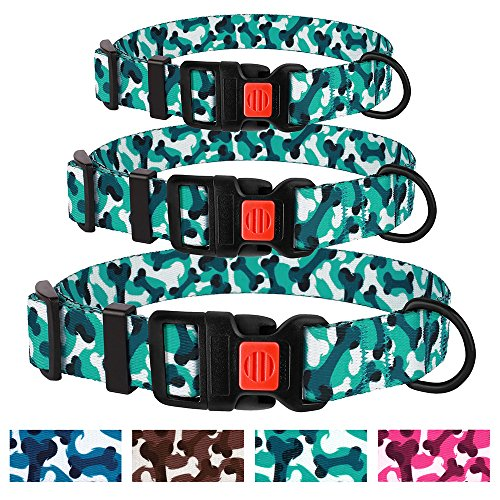 CollarDirect Bone Dog Collar Nylon Camo Design Adjustable Camouflage Pet Collars Small Medium Large Dogs (Neck Fit 10