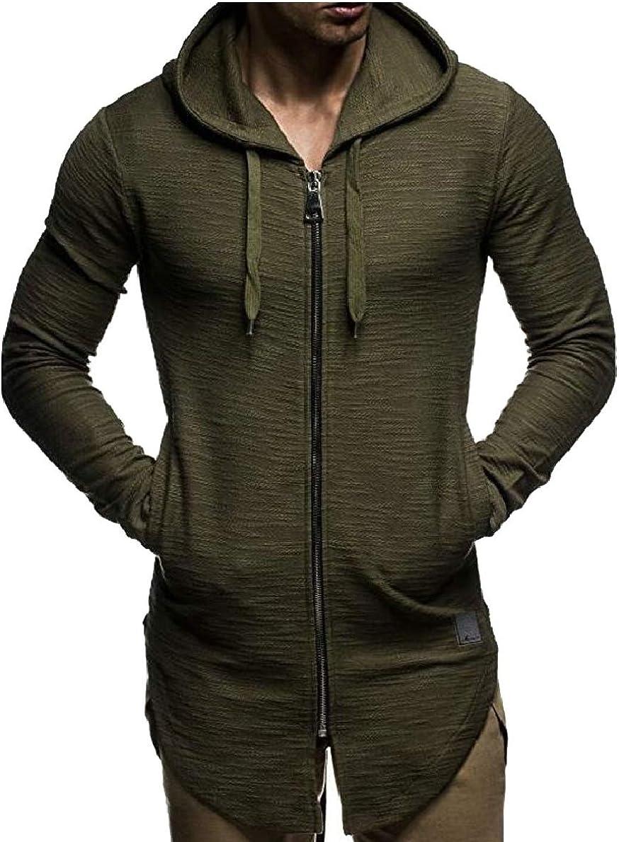 FLCH+YIGE Mens Fashion Zipper Split Hem Long Sleeve Jacket Outwear Long Hoodie