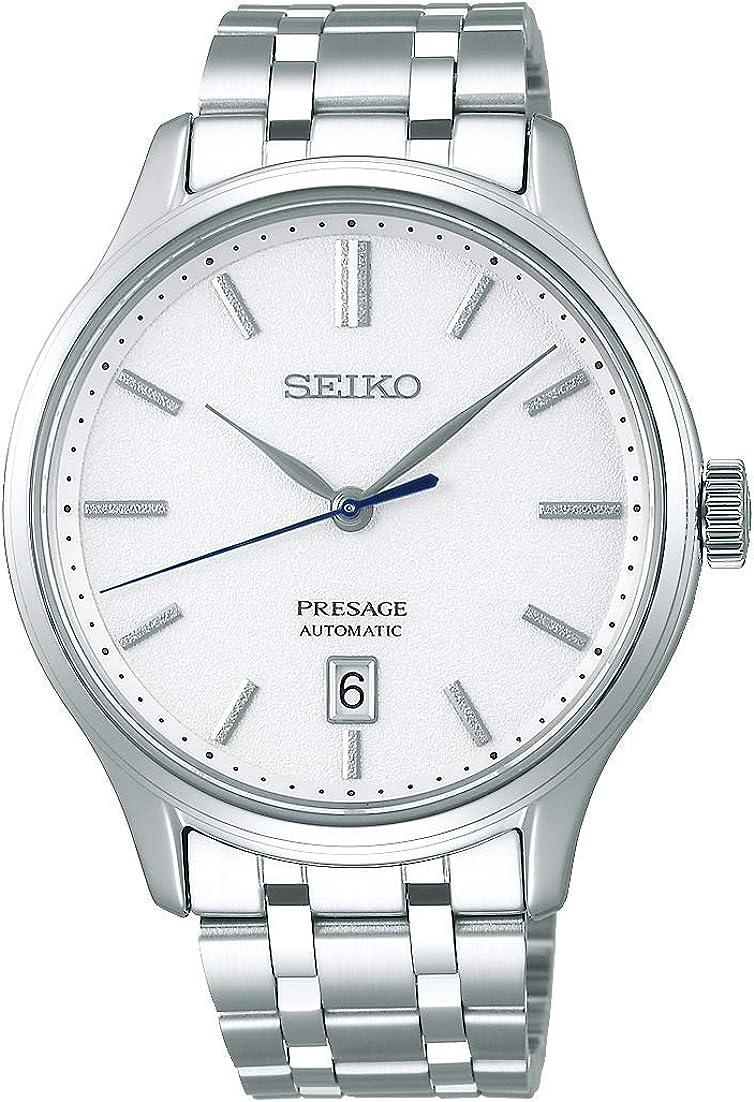 SEIKO Presage Silver Grain Dial Blue Hand Steel Watch Sapphire Glass SRPD39J1