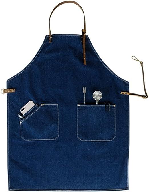 Blue Denim Bib Apron Industrial Nordic Design for Barber Barista Florist Chef 1x