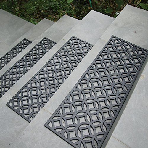 Rubber-Cal Azteca Indoor Outdoor Stair Treads Rubber Step Mats, 9.75 by 29.75-Inch (Outdoor Step Tread Mats)