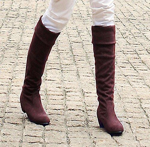 botas cabeza gran grosor mujeres con tacón alto de tamaño mujeres botas redonda botas Otoño de de botas de zapatos nbsp; de Kuki caballero qEwRv8xp