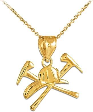 American Heroes Solid 14k Rose Gold Fireman Firefighter Emblem Pendant Necklace