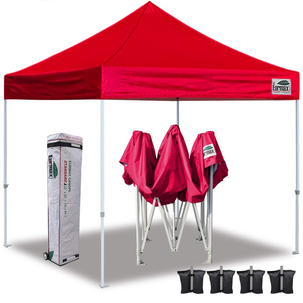 Eurmax Ez Pop up Canopy 10x10 Instant Canopies Outdoor Party Portable Folded with Wheeled Storage Bag,Bonus 4 Sand Weights Bags (Red)