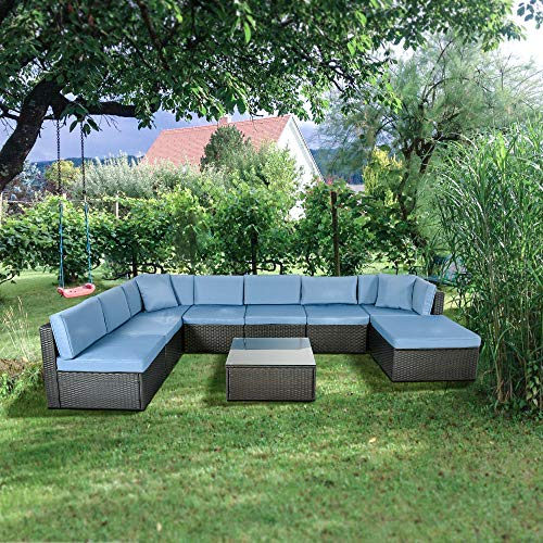 - GOJOOASIS Outdoor Patio PE Wicker Rattan Sofa Sectional Furniture Conversation Set with Cushion and Pillow, Steel Frame, Black (9pcs Rattan Sofa Set-A)
