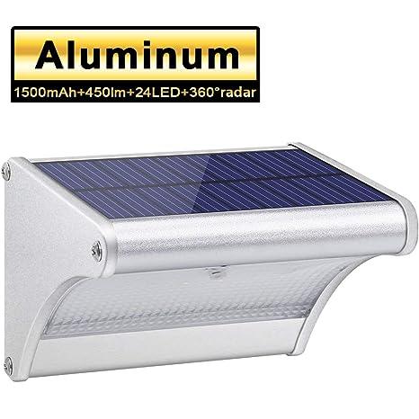 450lm 1500mAh 24 LED Luces Solares Exterior de Aluminio, Luz Solar IP65 Impermeable, Foco