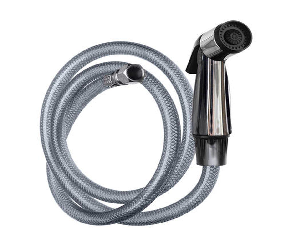 Plumb Works Sprayer & Hose for Side Spray Kitchen Sink Faucet - Universal, Versatile - Brushed Nickel, Chrome - 9.56 H x 6.75 W x 2.0 D