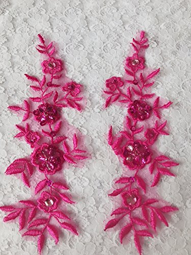 Handmade Rose Red Sew on Crystal Trim Patches Sequins Rhinestones Lace Applique 23X8cm for Top Dress Skirt