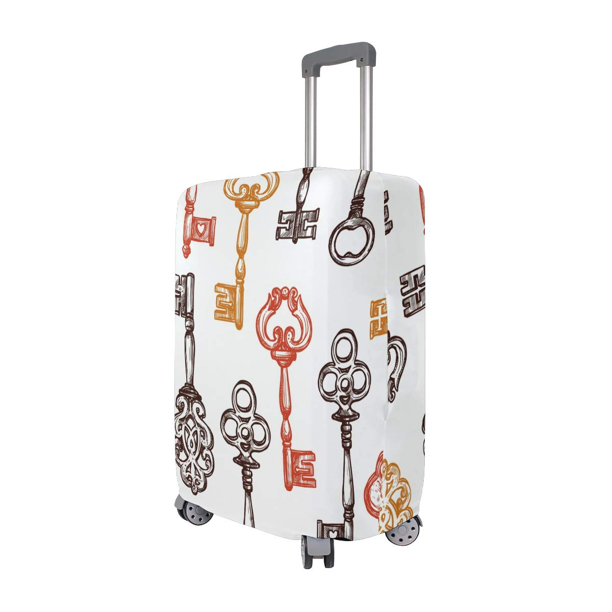 Baggage Covers Vintage Retro Key Drawn Pattern Washable Protective Case