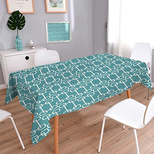 Turquoise Rectangle African Beads (Anmaseven Turquoise Rectangle Washable Tablecloth Vintage 60s Home Design Inspired Retro Squares and Circles Tile Like Image Waterproof Tablecloths Teal and White Size: W52 x L70)
