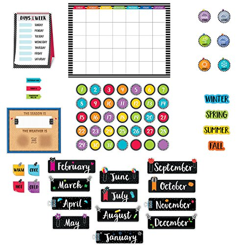 Creative Teaching Press Bulletin Board - Calendar Polka Black Dots