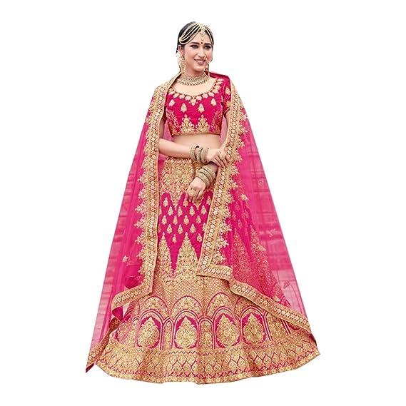 8529 Pink Bridal Lehenga Choli Gharara Dupatta Skirt Falda Set ...