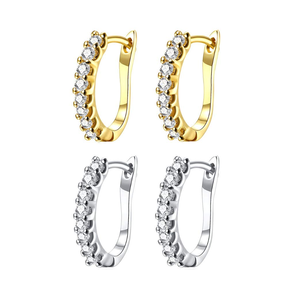 Fashion Huggie Diamond Cubic Zirconia Small Hoop Earrings for Women Girls Dainty Hypoallergenic CZ Sensitive Ears Gold White Gold 2Pairs