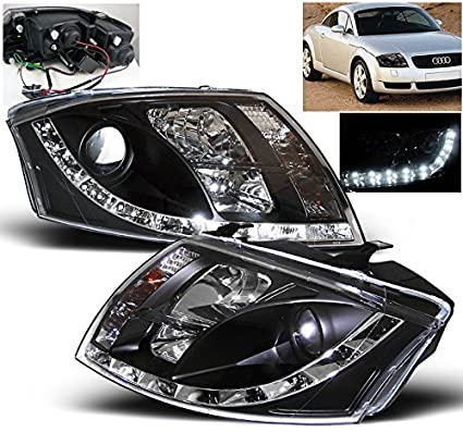 ZMAUTOPARTS LED DRL Projector Headlights Headlamps Lamps Black For  1999-2007 Audi TT